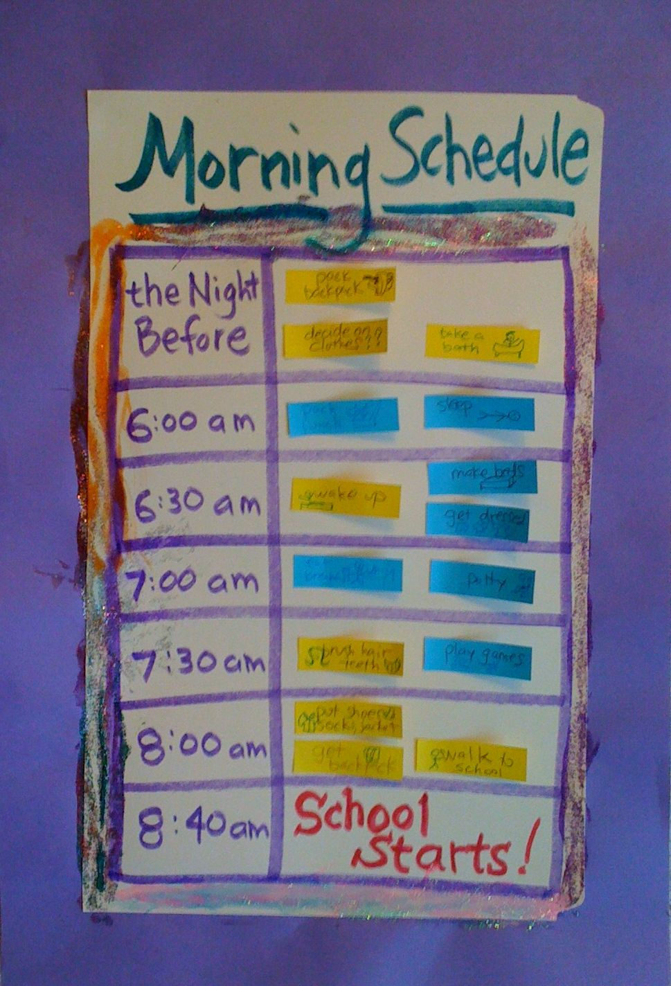Making a Morning Schedule
