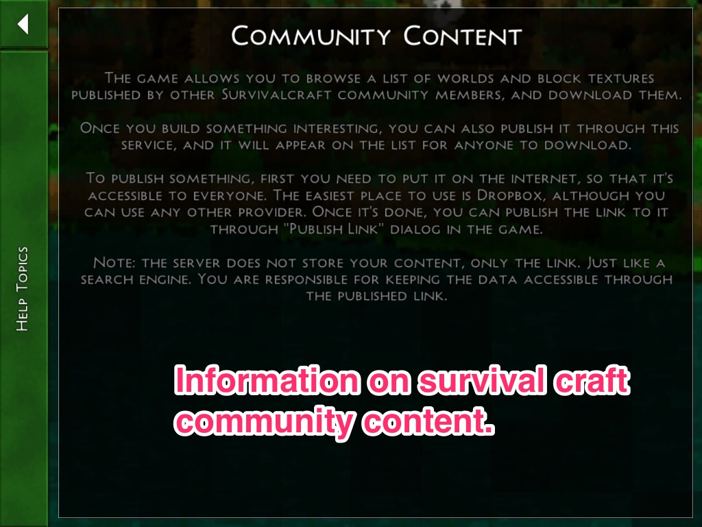 "This is how SurvivalCraft defines ""Community Content""."