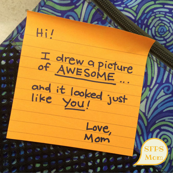 This little note meant so much it is STILL pinned to my daughter's bulletin board.