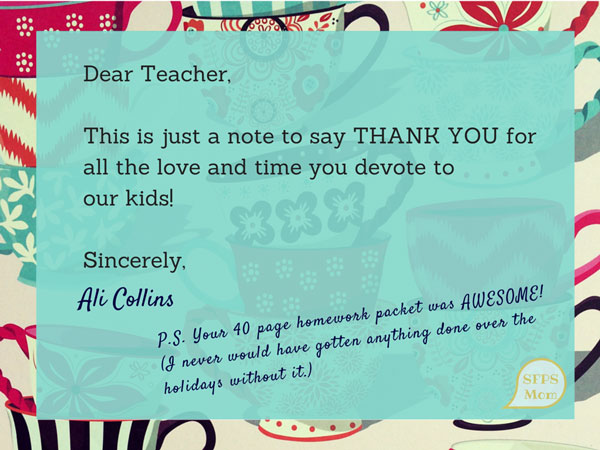 Thank You Letter To Teacher From Parent Sample Templates Back To