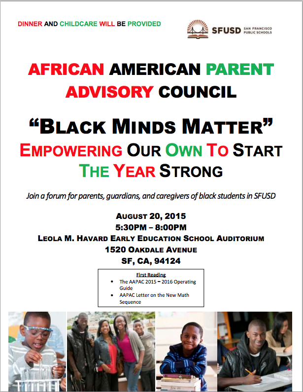 Mark your calendars to get involved in making SFUSD a great place to learn for all Black kids!